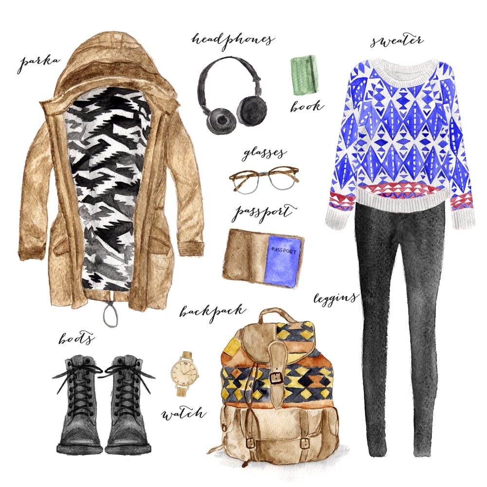 Laid Back Travel Outfit Illustration