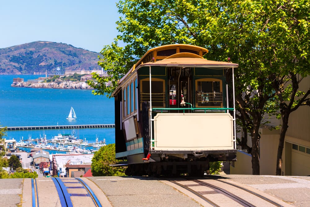 Body- San francisco Hyde Street Cable Car Tram of the Powell-Hyde in California USA