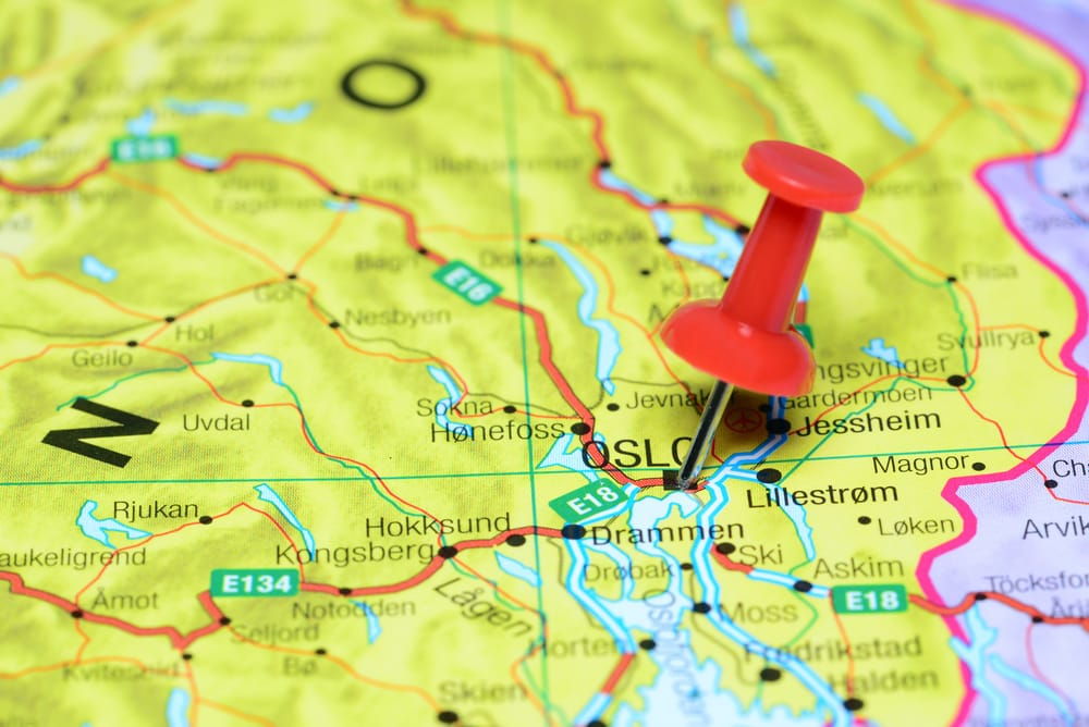 Oslo pinned on a map of europe