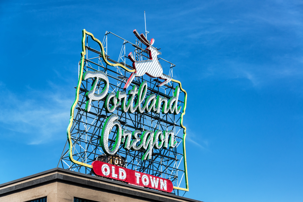 3_Iconic Portland, Oregon Old Town sign with an outline of Oregon and a stag